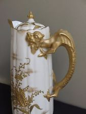 Antique Late 19thC Willets Belleek Gilt Dragon Handle Porcelain Chocolate Pot