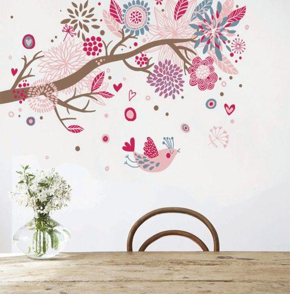 Color boh mien arbre fleur par autocollants muraux - Stickers muraux chambre fille ...