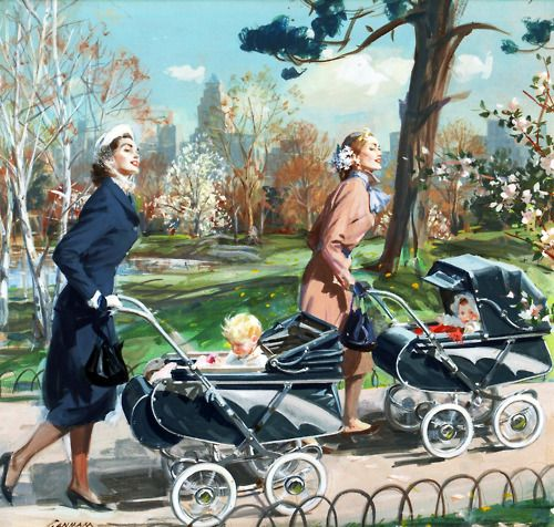 Two mothers looking elegantly beautiful as the take their youngsters for a stole through the park. #1950s #ad #stroller #carriage #pram #vintage #mother #baby #homemaker #housewife #fashion: