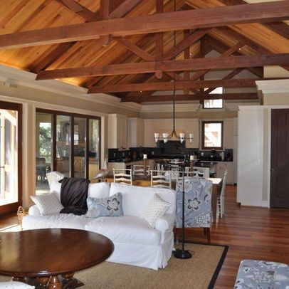 Exposed beams beams and vaulted ceilings on pinterest for Vaulted ceiling with exposed trusses
