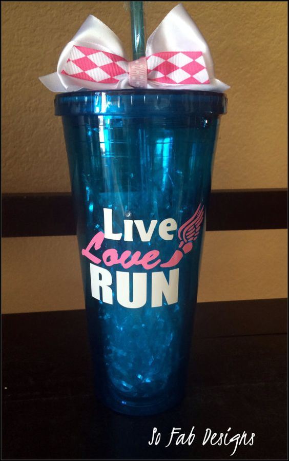 Personalized Live,Love,RUN 20 ounce acrylic runners cup with screw on lid and straw