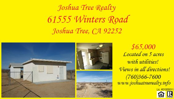 Call Joshua Tree Realty about this desert escape! (760)366-7600! www.joshuatreerealty.info