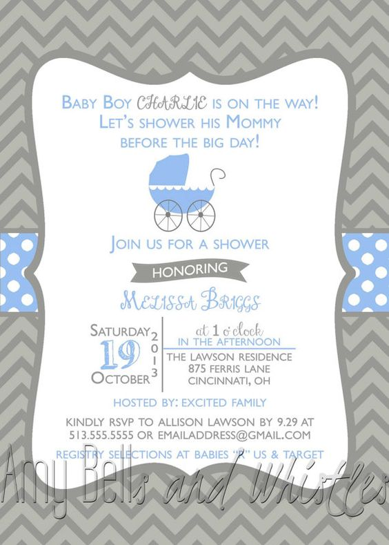 Modern Chevron & Polka Dot Baby Boy Shower by AmyBellsandWhistles, $12.00
