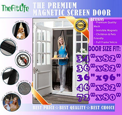 Thefitlife Magnetic Screen Door Heavy Duty Mesh Curtain With Full Frame Velcro And Powerful Magnets That Magnetic Screen Door Screen Door Screen Door Curtains