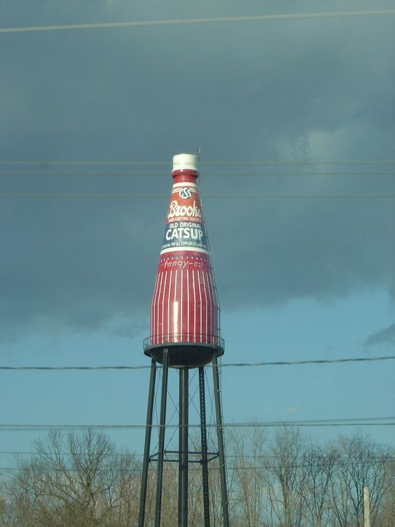 Collinsville, Illinois.  Brooks Catsup Bottle Water Tower—the world's largest ketchup bottle—and is the world's horseradish capital.