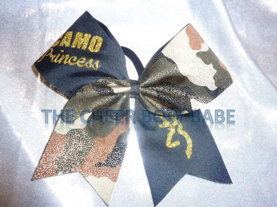 Blingy Camo PRINCESS Cheer Bow ~ Tick Tock by TheCheerBowBabe on Etsy