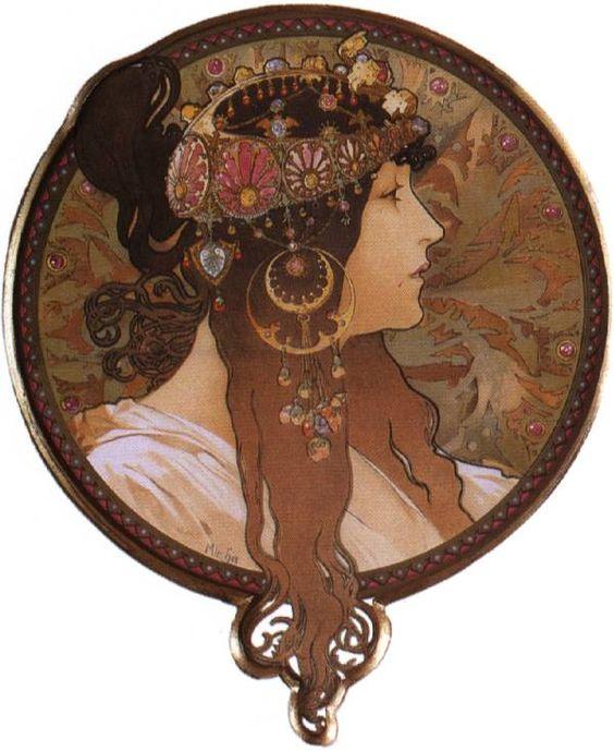 Mucha - Byzantine Head. The Brunette