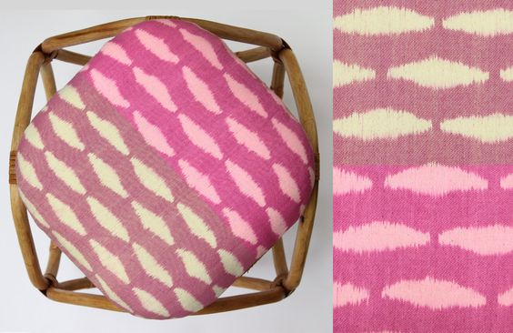 Rattan and Ikat stool. Pink and Yellow Zebra by Mitsein on Etsy