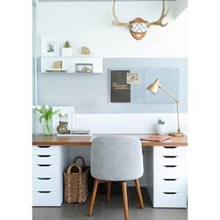 This desk is shockingly simple to make — it's two Ikea drawers holding up a wood plank! | 18 Home Offices That Will Give You New Decor Goals: