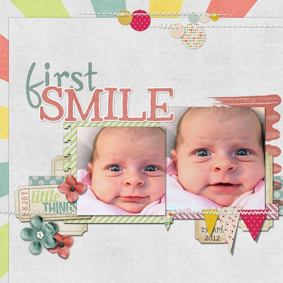 """""""First Smile"""" scrapbook layout by Chanell Rigterink for Creating Keepsakes magazine. #scrapbook #scrapbooking #creatingkeepsakes"""