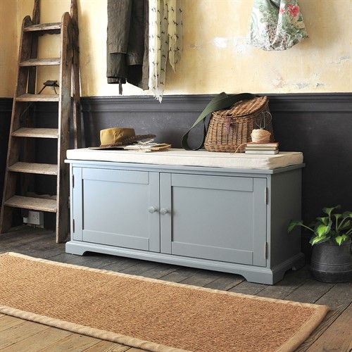 Farmhouse Painted Shoe Bench With Doors Grey The Cotswold Company Bench With Shoe Storage Hallway Shoe Storage Bench Shoe Bench