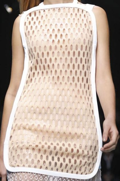 Sporty lattice top with thick white trim; fashion details // Balenciaga S/S 2015