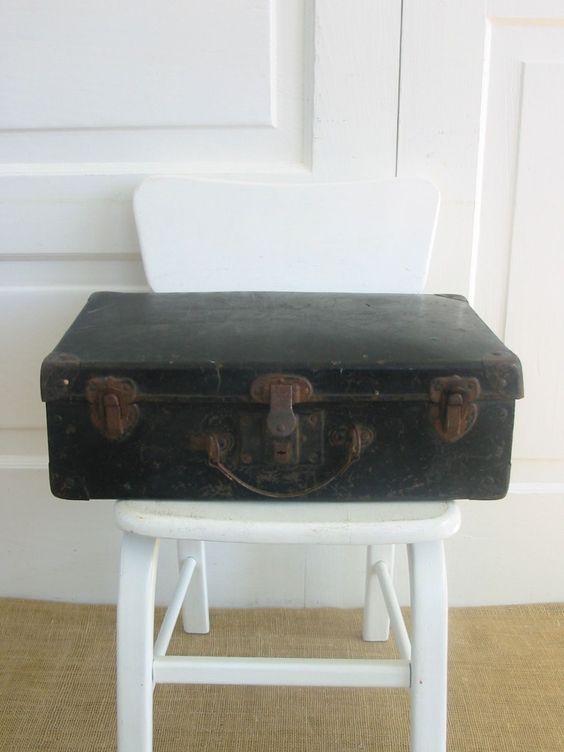 Vintage Black Case Suitcase Luggage Industrial Small Storage by vintagejane on Etsy