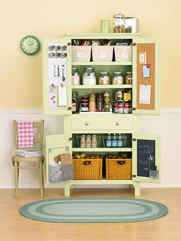 Storage Armoire converted to pantry plus organization-station. Inside doors are corkboard, metal sheets, and blackboard paint