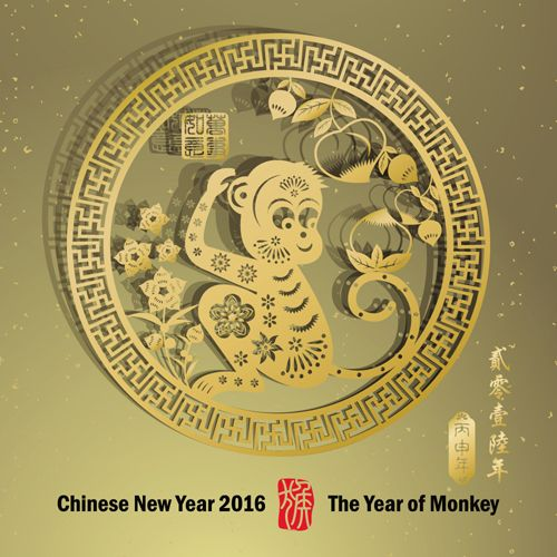 FREE DOWNLOAD - Chinese new year 2016 monkey design vector 02