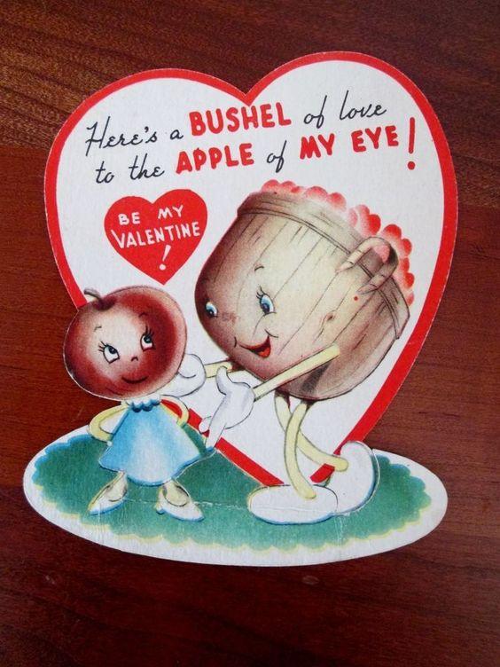 Vintage American Greeting Valentine Card - ...A Bushel Of Love.....