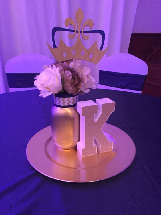 Centerpieces baby shower royal theme prince shower for Baby shower centerpiece decoration