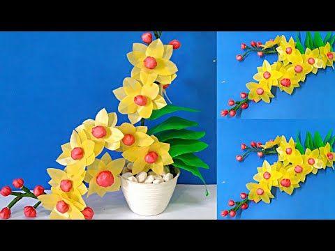 Cara Mudah Membuat Bunga Anggrek Kuning Unik Dari Plastik Kresek