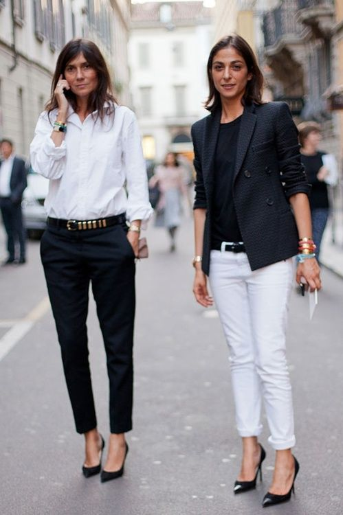 Parisian Editor chic at Milan Fashion Week    (photo via Pinterest via Harper's Bazaar):