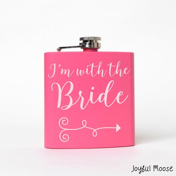 """Custom Pink Flask says """"I'm with the bride"""" Great bachelorette party item or bridesmaid gift! 6 oz. Pink steel flask is custom engraved and measures 3.75"""" x 4.25"""" x 7/8"""". ** Joyful Moose Monogram Gift"""