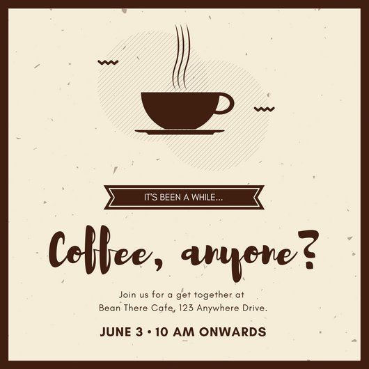 Brown Coffee Get Together Invitation