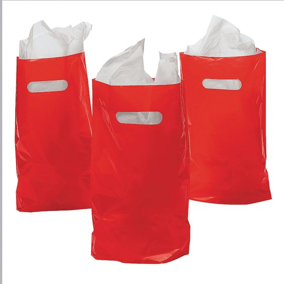 Red Plastic Bags - OrientalTrading.com with blood donor sticker