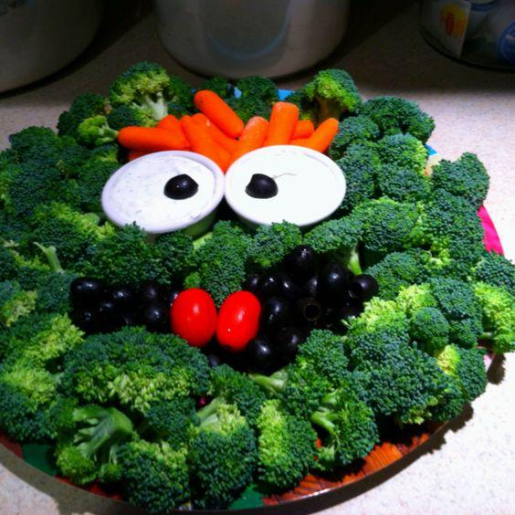 Healthy Oscar the grouch veggie platter!