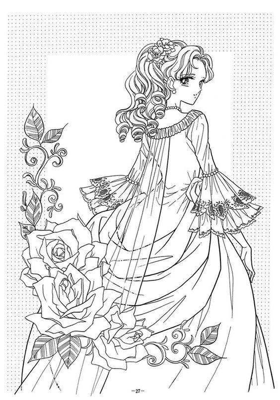 Line Art Queen : Victorian woman fashion dress adult coloring pages
