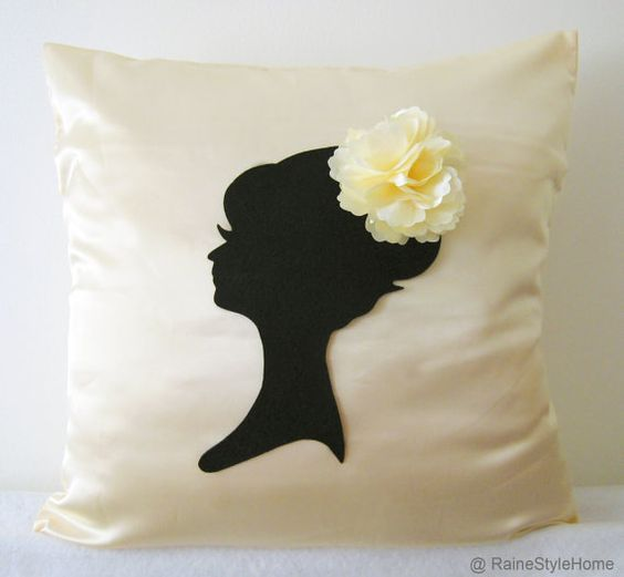 Elegant Cameo Champagne And Black Pillow Cover by RaineStyleHome, $28.00