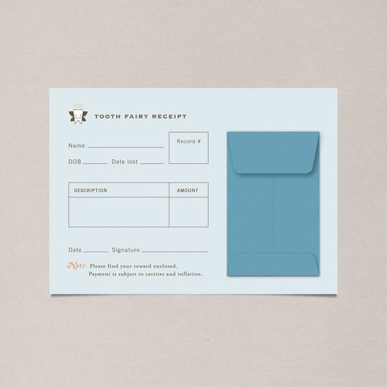 Graphic design - Kids - Tooth Fairy Receipt Graphics \ Print - create a receipt of payment