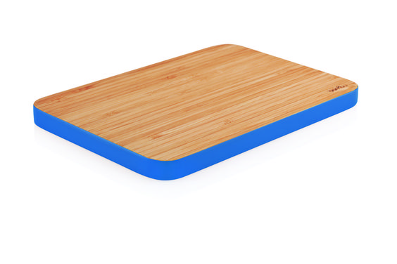 Chop Food, Not Trees. bambu's Cutting Edge utility board. Bamboo with bold cobalt. Slice, chop, serve, cut a sandwich, forget the plate...go direct. Available in Flashy Fuchsia.