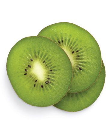 "Kiwi    ""The high vitamin C levels in kiwi fight free-radical damage and even out skin texture. When scrubbed on the face, the seeds act as tiny exfoliators, leaving skin smooth.  Peel and slice a ripe kiwi, then mash the flesh thoroughly with a fork. With circular motions, work the kiwi paste onto a damp, clean complexion, avoiding the eye and lip areas. After 30 to 60 seconds of scrubbing, rinse skin with warm water and pat dry."""
