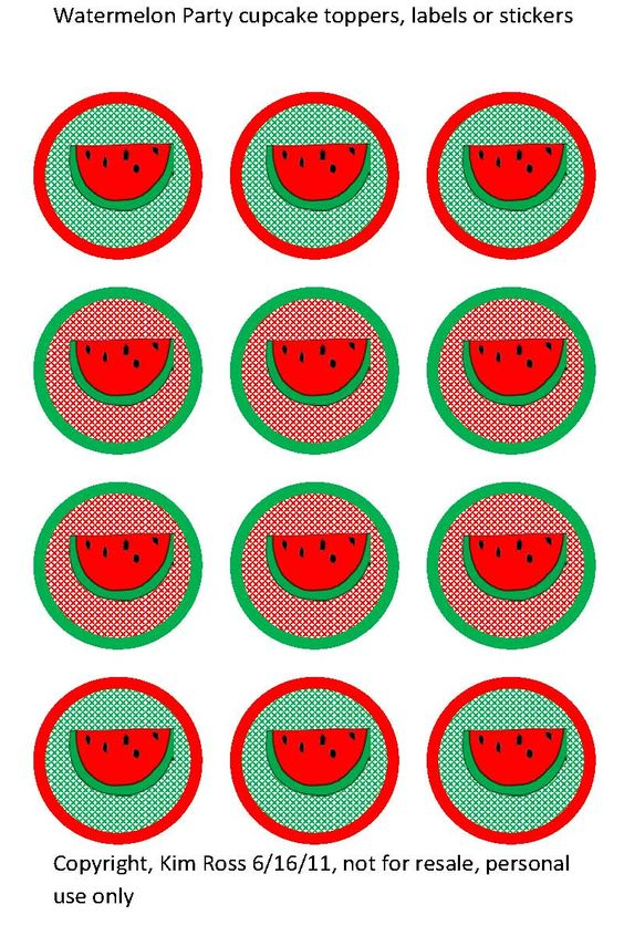 Watermelon cupcakes, Cupcake toppers and Watermelon