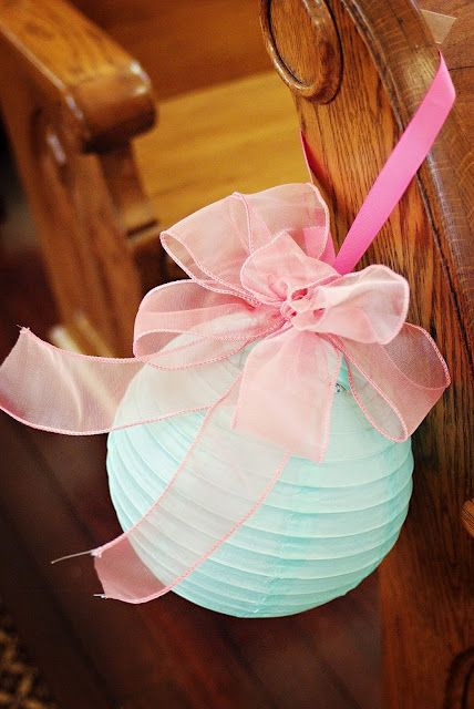 Change the ribbon color - cute idea for pews or even lining the entrance to the church/reception area?