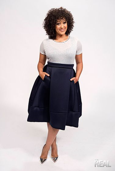 Tamera looks darling in a Maje top and skirt, with Christian Louboutin heels.