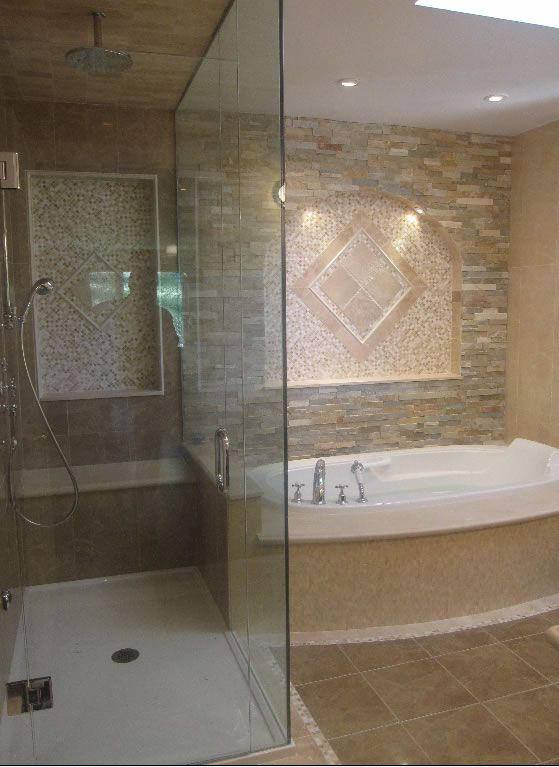 Shower Enclosure: Custom Shower Glass Doors, Shower Wall Tiles: Porcelanosa  Kali Tobacco 12 X 35 Porcelain Tiles, Accent Wall Tile: Limestone Sydnu2026