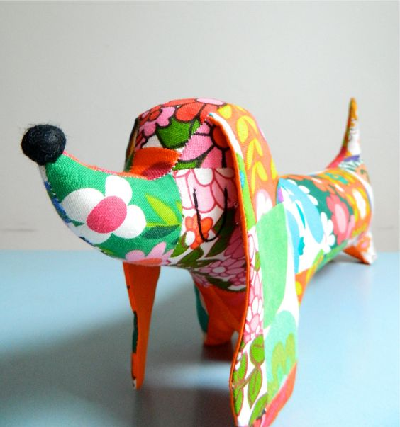 Vintage Patchwork Large Dachshund by Alice Apple