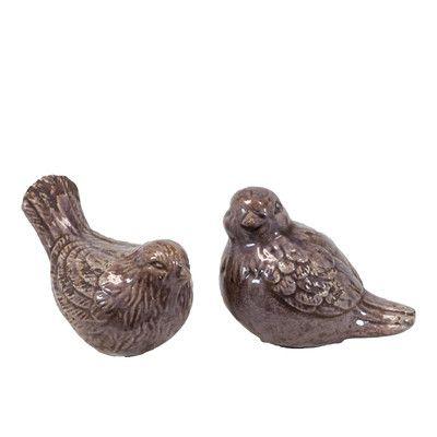 Urban Trends Ceramic Birds Set of Two Gloss Lilac & Reviews | Wayfair