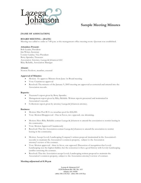 Sample Meeting Minutes Name Of Association Board Meeting Date Meeting Was Called To Or Meeting Minutes Meeting Minutes Template Minutes Of Meeting