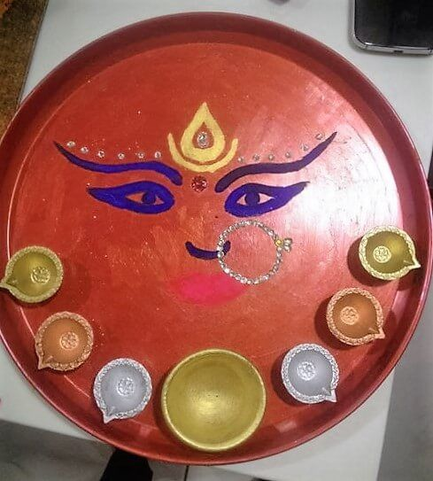 Navratri aarti thali decoration ideas pooja ki thali and for Aarti thali decoration ideas for ganpati