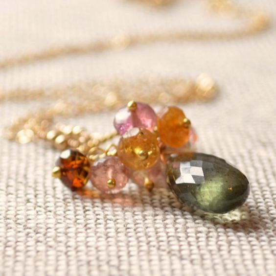 Long Gemstone Necklace, Tourmaline Cluster with Large Moss Aquamarine, Dark Aqua, Wire Wrapped, Gold Jewelry, Free Shipping