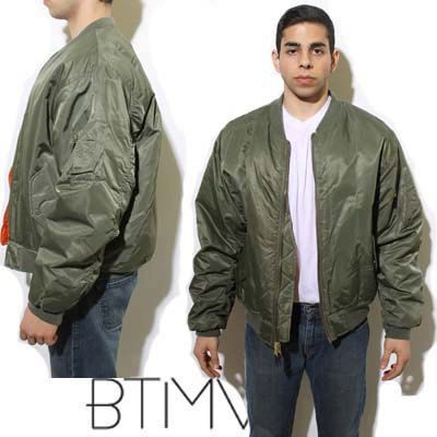 80s MEN'S PARKA classic army green military puffer dayglo rain ...