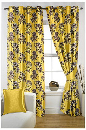PVR Fashion 2 Piece Polyester Door Curtain - 7 ft, Yellow... http ...