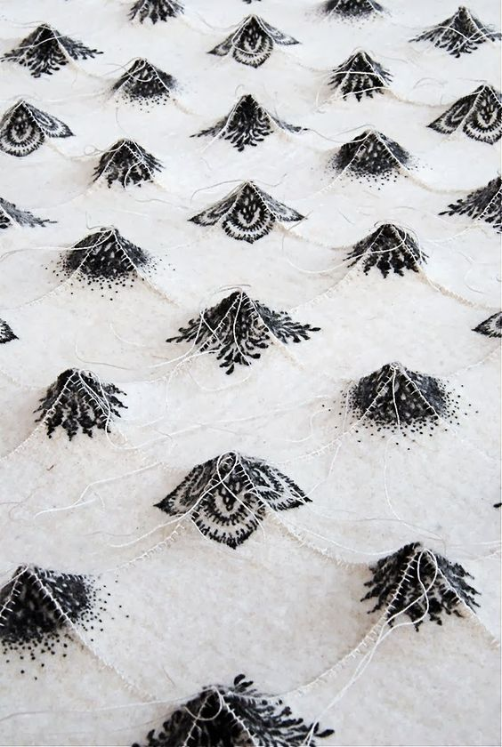 """Chung-Im hand prints and embroiders industrial felt into dynamic forms and patterns """"Why felt? It has been many years since I was introduced ..."""""""