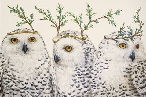 Kitchen Papers Pad of Paper Placemats - Festive Owls