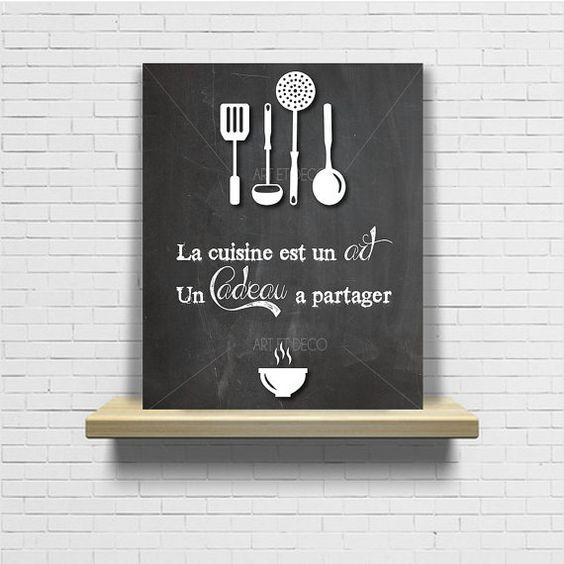 Tableau citation cuisine ardoise chalkboard original par - Tableau ardoise deco cuisine ...