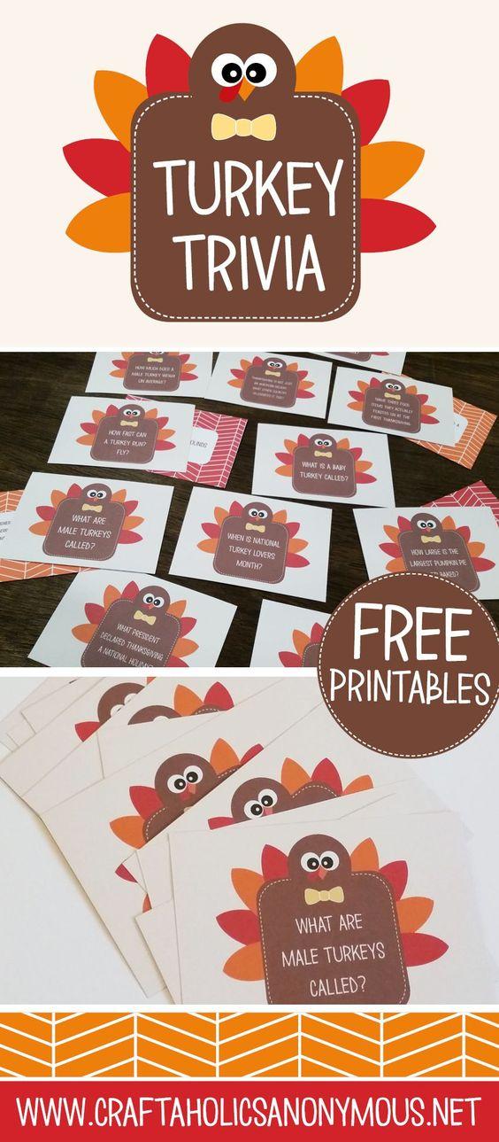 Thanksgiving Table Craft Turkey Trivia Cards