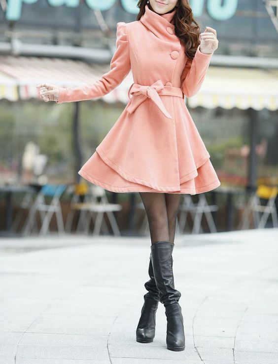 Pink Long Dress Spring Trench Coats Wool Cape Coat Skirt Autumn