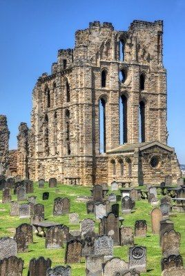 Tynemouth, UK,  Tynemouth Priory on the coast of North-East England  Once one of the largest fortified areas in England, this ancient building and the adjacent castle overlook the North Sea and the River Tyne.
