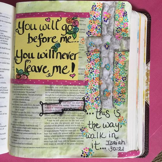 """I am never alone!  There is no place that I can be that You've not already stood!  When I turn to the right or to the left I will hear His voice saying """"This is the way!"""" Amazing!  He is incredibly faithful and trustworthy!! I adore The Great I Am!#bibleart  #biblejournaling #bibleartjournaling #journalingbible #finelinenandlacebible #heisfaithful #biblejournalingcommunity #paintinmybible #biblejournalinglife http://ift.tt/1KAavV3"""